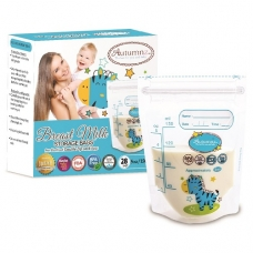 Autumnz - Double ZipLock Breastmilk Storage Bag (28 bags) *5oz* ( ZEBRA )