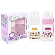 Autumnz - PP Wide Neck Feeding Bottle 6oz/180ml (Twin Pack) *Ellie Elephants / Blooming PInk*