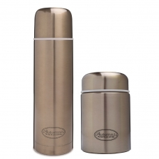 Autumnz - SS Vacuum Flask 750ml & Food Jar 450ml Combo Set *Metallic Gold*
