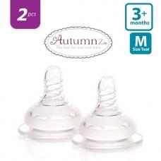 Autumnz - Soft Silicone Teat  MEDIUM Flow *2pcs* (3+ months /Round Hole)