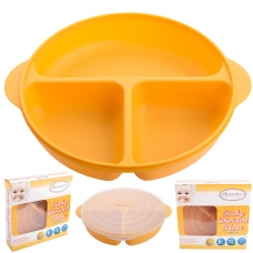 Autumnz - Baby Divided Plate With Lid (Orange)