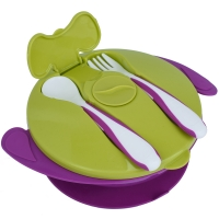 Autumnz Baby Suction Bowl with Spoon and Fork (Purple)