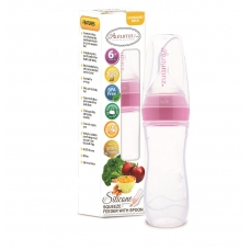 Autumnz - Silicone Squeeze Feeder With Spoon *Stand Neck 120ml* (Pink)