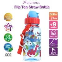 Autumnz - Flip Top Straw Bottle 500ml /17oz *Dino World* (Best Buy)