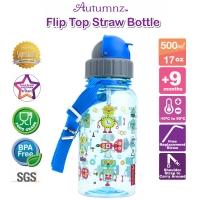 Autumnz - Flip Top Straw Bottle 500ml /17oz *Sparky Robots* (Best Buy)