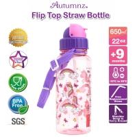 Autumnz - Flip Top Straw Bottle 650ml /22oz *Rainbow Unicorns* (Best Buy)