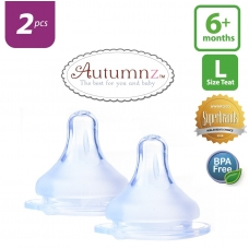 Autumnz - MAXY Soft Silicone Teat  FAST Flow *2pcs* (6+ months / Round Hole)