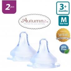 Autumnz - MAXY Soft Silicone Teat  MEDIUM Flow *2pcs* (3+ months / Round Hole)
