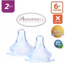 Autumnz - MAXY Soft Silicone Teat  FAST Flow *2pcs* (6+ months / X-Cut)