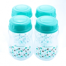 Autumnz-Wide Neck Breastmilk Storage Bottles *7oz* (4 btls) - Lullaby *Turquoise* (TURQ Cap)