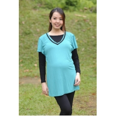 (Clerance) Autumnz - Alexa 2-in-1 Maternity/Nursing Top (Aqua/Black)