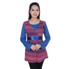 Autumnz- Flirty 2-in-1 Maternity/Nursing Tunic (Pink/Blue)
