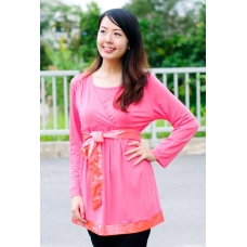 (Clerance) Autumn Flirty 2-in-1 Maternity/Nursing Tunic (Coral Pink)