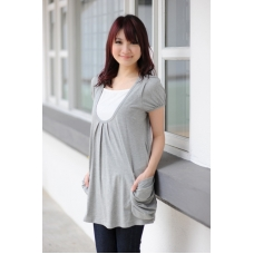 AUTUMNZ - Fun Loving 2-in-1 Maternity/NursingTunic (Light Grey)