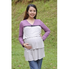 (Clerance) Autumnz - Merilyn Long Sleeved NursingTunic (Pewter)