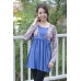 AUTUMNZ - Retro 2-in-1 Maternity/Nursing Top (Blue)
